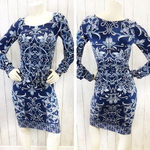 Cache Long Sleeve Fitted Dress Sz XS